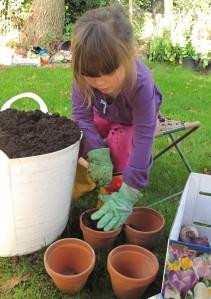 filling pots gardening blog